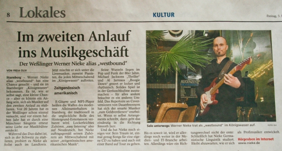 This is a report that appeared in the local paper after my second appearance at restaurant Koenigswasser in Starnberg