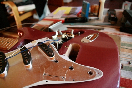 disassembled stratocaster